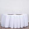 "120"" White Commercial Grade 250 GSM Polyester Round Tablecloth"