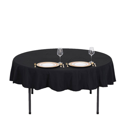 "70"" Black Round Tuscany-Inspired 250gsm Polyester Tablecloth"