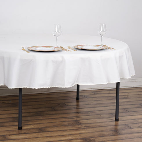 "70"" Ivory Round Tuscany-Inspired 250gsm Polyester Tablecloth"