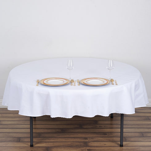"70"" White Round Tuscany-Inspired 250gsm Polyester Tablecloth"