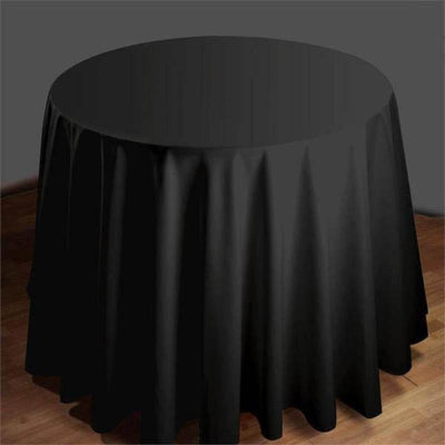 "90"" Round Tuscany-Inspired 250gsm Polyester Tablecloth - Black"