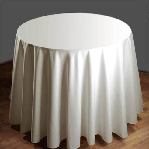 "90"" Round Tuscany-Inspired 250gsm Polyester Tablecloth - Ivory"