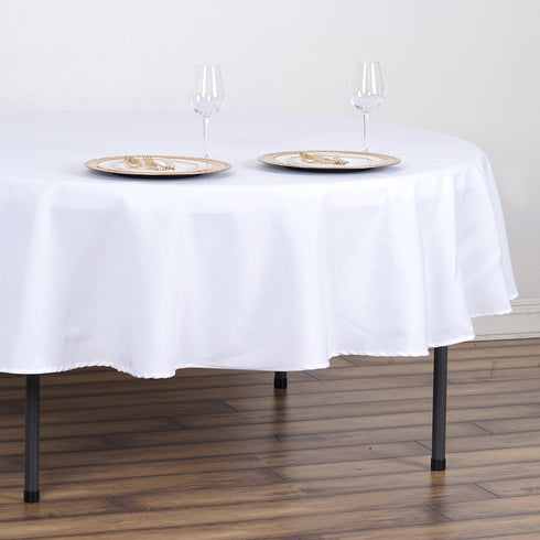 "90"" White Commercial Grade 250 GSM Polyester Round Tablecloth"