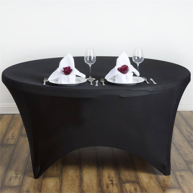 8 Seat Round Spandex Tablecloths-Black