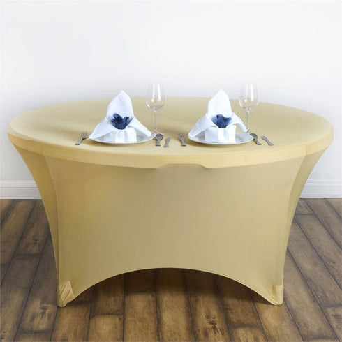 8 Seat Round Spandex Tablecloths-Champagne