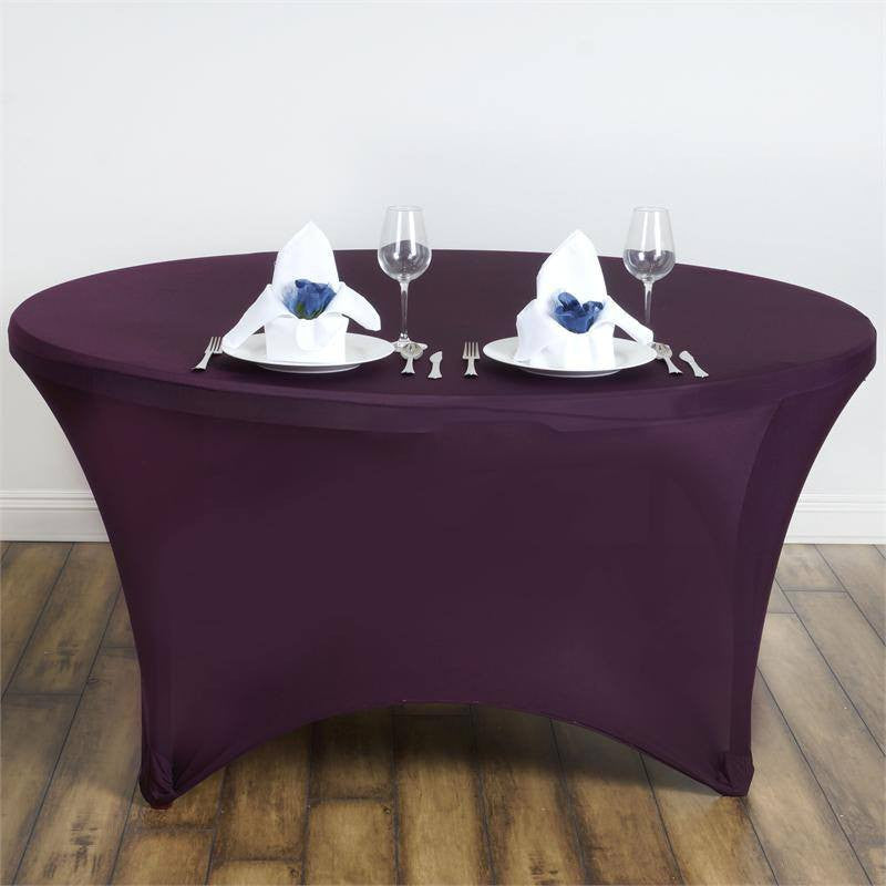 8 Seat Round Spandex Tablecloths-Eggplant