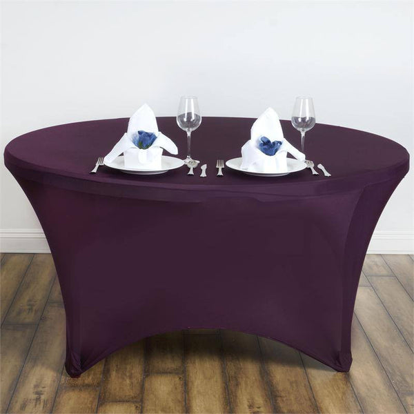 5FT Eggplant Round Stretch Spandex Tablecloth