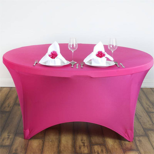 5FT Fushia Round Stretch Spandex Tablecloth