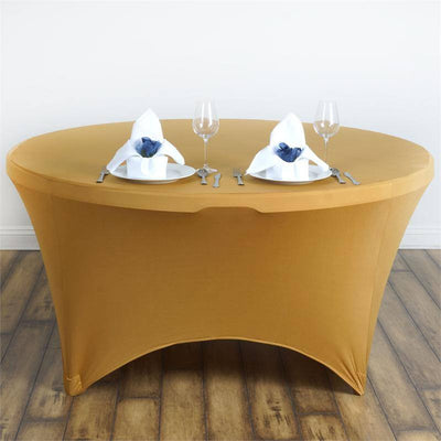 8 Seat Round Spandex Tablecloths-Gold