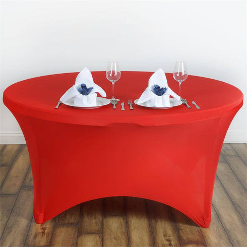 8 Seat Round Spandex Tablecloths-Red