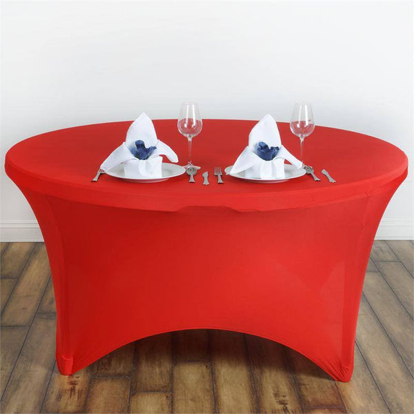 5FT Red Round Stretch Spandex Tablecloth