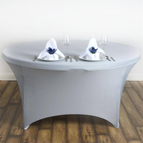 8 Seat Round Spandex Tablecloths-Silver