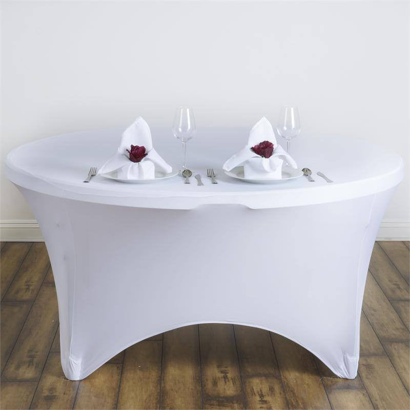 8 Seat Round Spandex Tablecloths-White