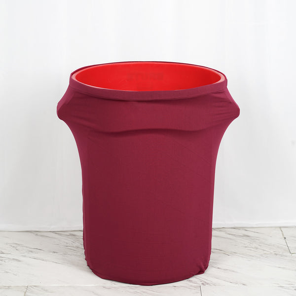 41-50 Gallons Burgundy Stretch Spandex Round Trash Bin Container Cover
