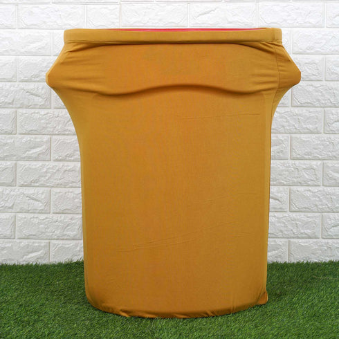 41-50 Gallons Gold Stretch Spandex Round Trash Bin Container Cover