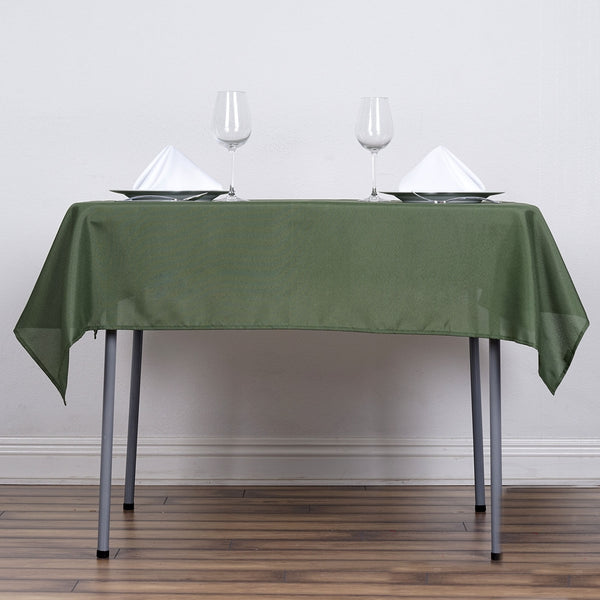 "54"" Moss Green Square Polyester Tablecloth"