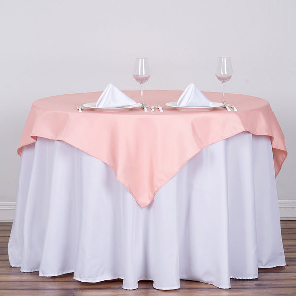 "54"" Dusty Rose Square Polyester Table Overlay"