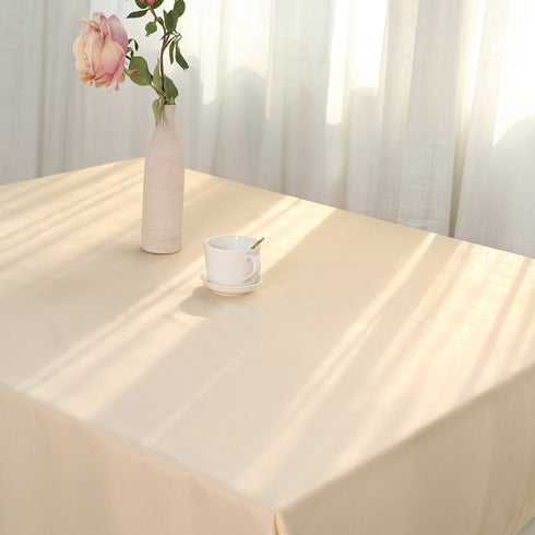 "54""x54"" Beige Seamless Polyester Square Linen Tablecloth"