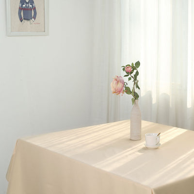 "54"" Beige Square Polyester Tablecloth"