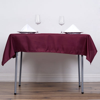"54"" Burgundy Square Polyester Tablecloth"