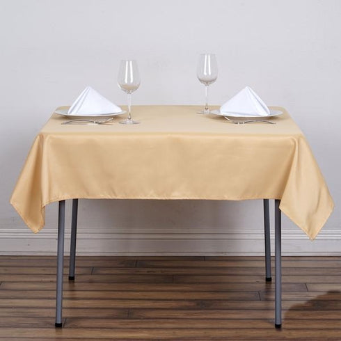"54x54"" Seamless Polyester Square Linen Tablecloth - Champagne"