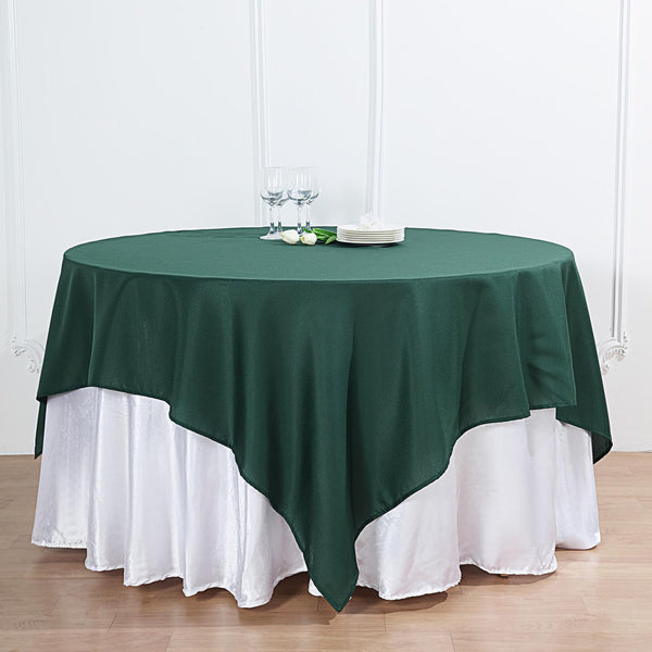 "54"" Hunter Emerald Green Square Polyester Table Overlay"