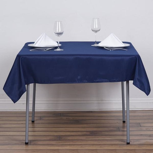 "54x54"" Seamless Polyester Square Linen Tablecloth - Navy Blue"