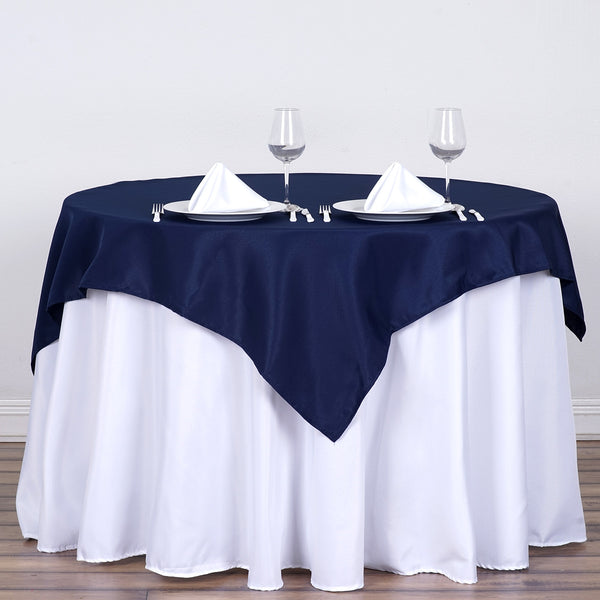 "54"" Navy Blue Square Polyester Table Overlay"