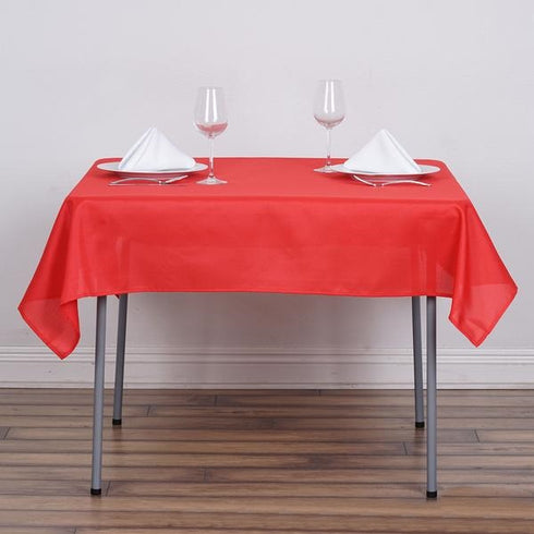 "54x54"" Seamless Polyester Square Linen Tablecloth - Red"