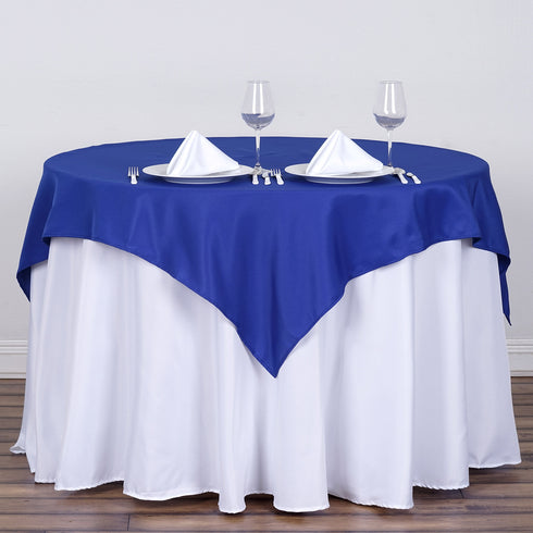 "54"" Royal Blue Square Polyester Table Overlay"