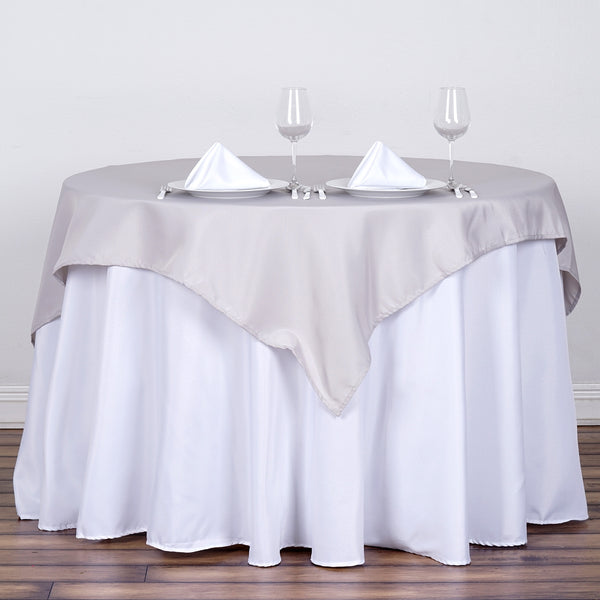 "54"" Silver Square Polyester Table Overlay"