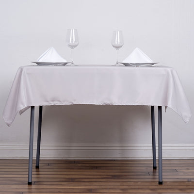 "54"" Silver Square Polyester Tablecloth"