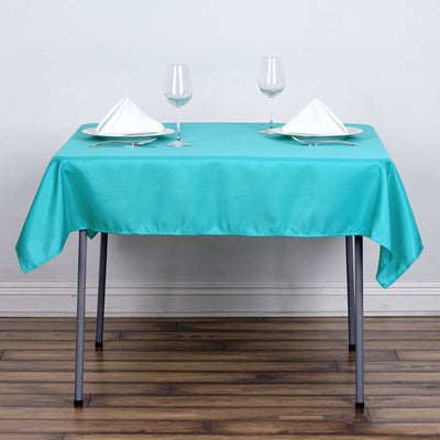 "54x54"" Seamless Polyester Square Linen Tablecloth - Turquoise"