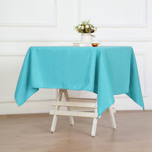 "54"" Turquoise Square Polyester Table Overlay"