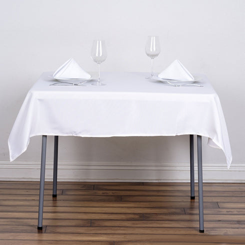 "54"" x 54"" White Wholesale Seamless Polyester Square Tablecloth Overlay For Banquet Wedding Party Restaurant"