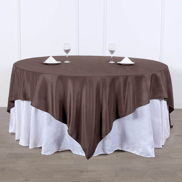 "70"" Chocolate Premium Square Polyester Tablecloth"