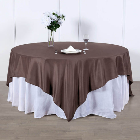 70 inch Chocolate Premium Square Polyester Tablecloth