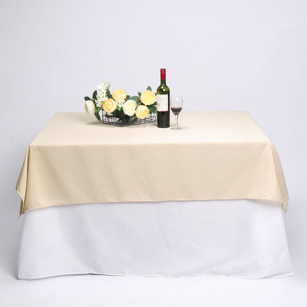 "70"" Beige Square Polyester Tablecloth"