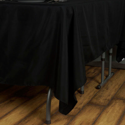 "70"" BLACK Wholesale Polyester Square Linen Tablecloth For Wedding Banquet Party Restaurant"