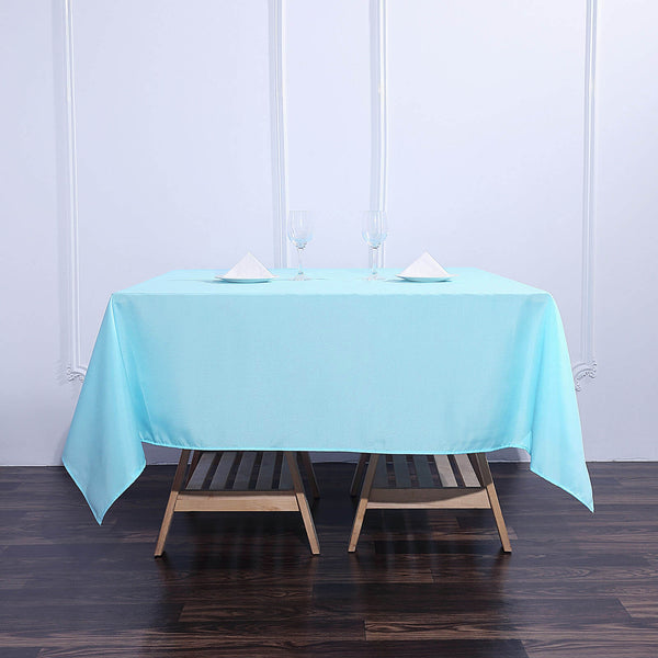 "70"" Blue Square Polyester Tablecloth"