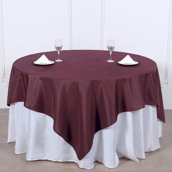 "70"" Burgundy Premium Square Polyester Tablecloth"