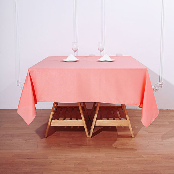 "70"" Coral Square Polyester Tablecloth"