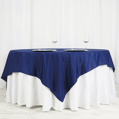 "70"" Polyester Square Linen Tablecloth - Navy Blue"