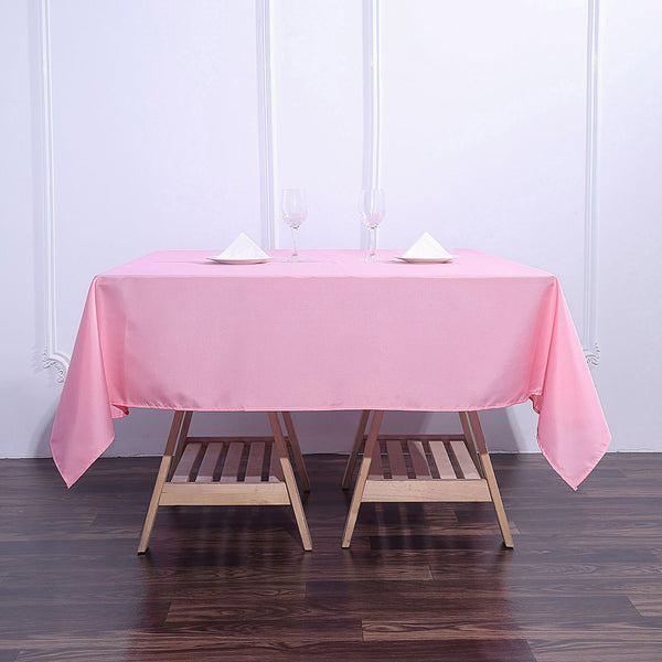 "70"" Pink Premium Square Polyester Tablecloth"