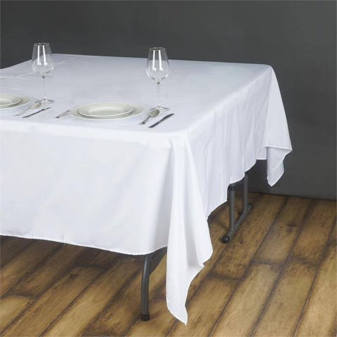 "70"" WHITE Wholesale Polyester Square Linen Tablecloth For Wedding Banquet Party Restaurant"