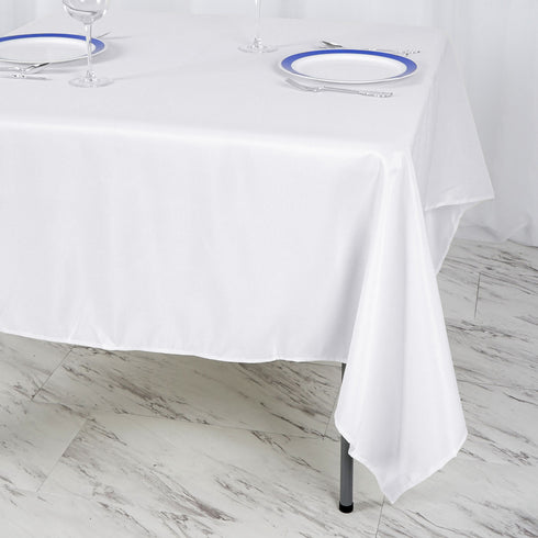 "70"" White Premium Square Polyester Tablecloth"