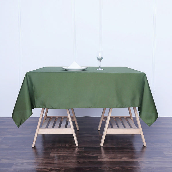 "70"" Moss Green Square Polyester Tablecloth"