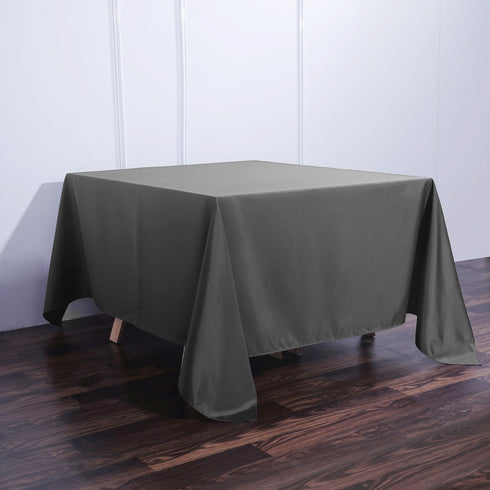 90 Inch Charcoal Gray Square Polyester Tablecloth