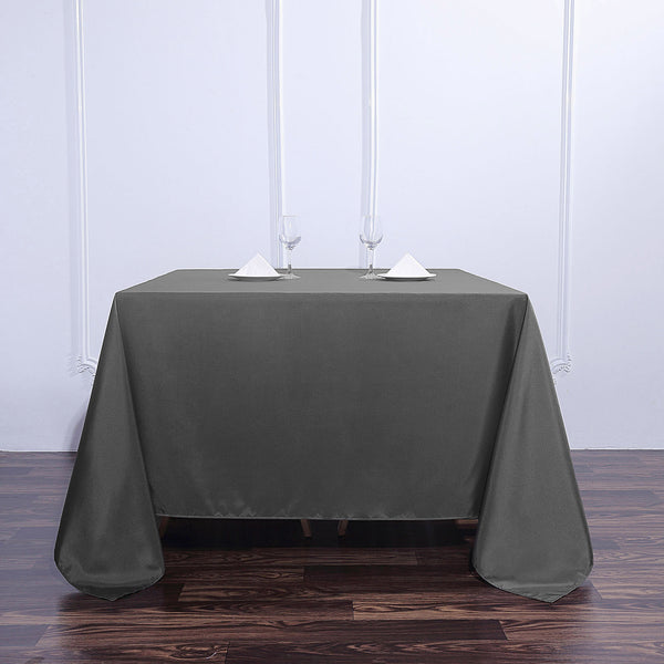 "90"" Charcoal Gray Square Polyester Tablecloth"