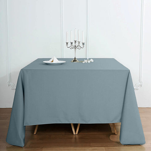 "90"" Dusty Blue Square Polyester Tablecloth"